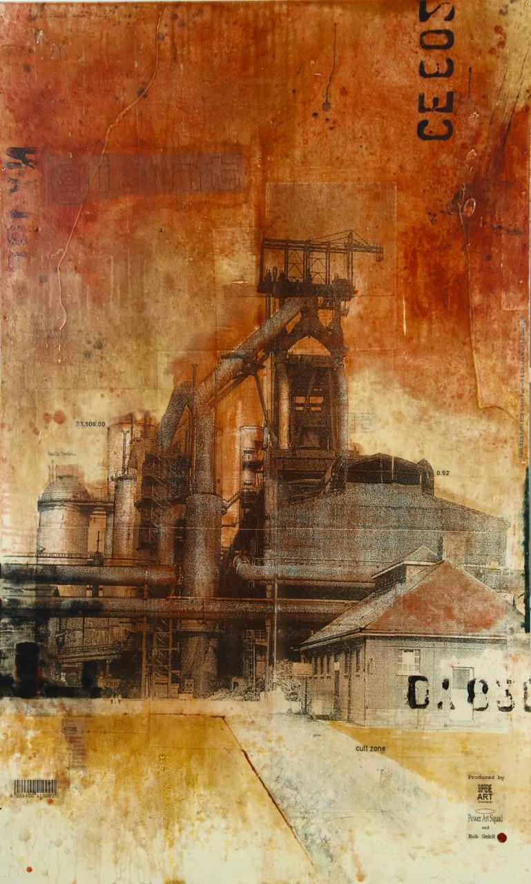 Giants - Esch-sur-Alzette (L) - collage photo, huile, acrylique sur bois - 200 x 122 cm - 2007