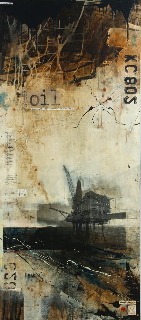 After Oil - collage photo, huile, acrylique sur bois - 200 x 90 cm - 2010