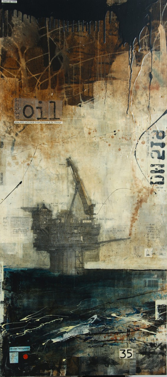 After Oil - collage photo, huile, acrylique sur bois - 200 x 90 cm - 2010