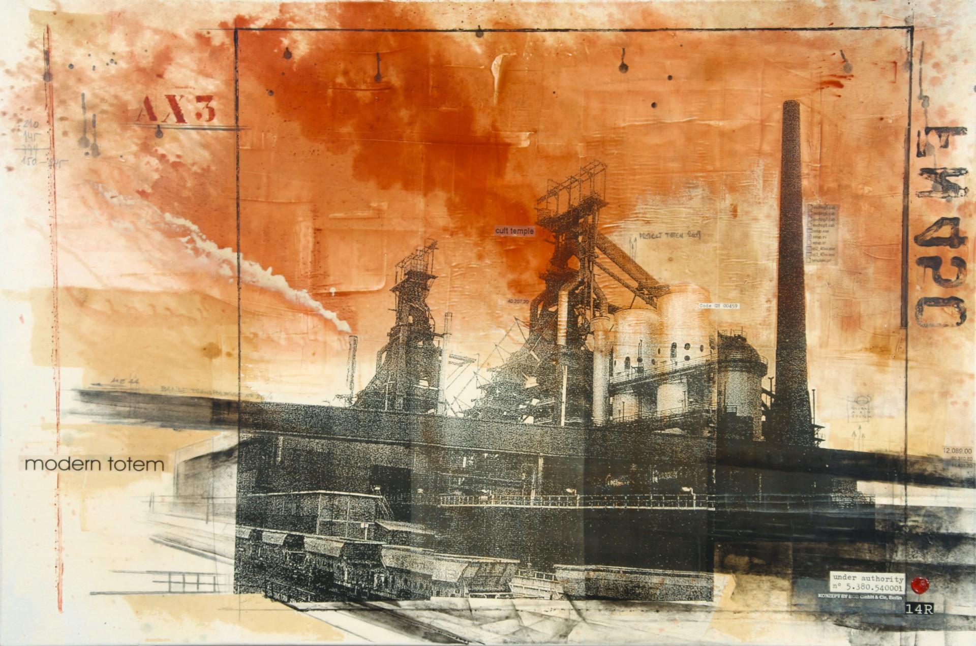 Modern Totem - Esch-sur-Alzette (L) - collage photo, huile, acrylique sur toile - 100 x 150 cm - 2007