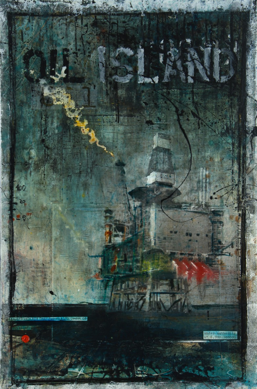 Oil Island - collage photo, huile, acrylique sur toile - 120 x 80 cm - 2012