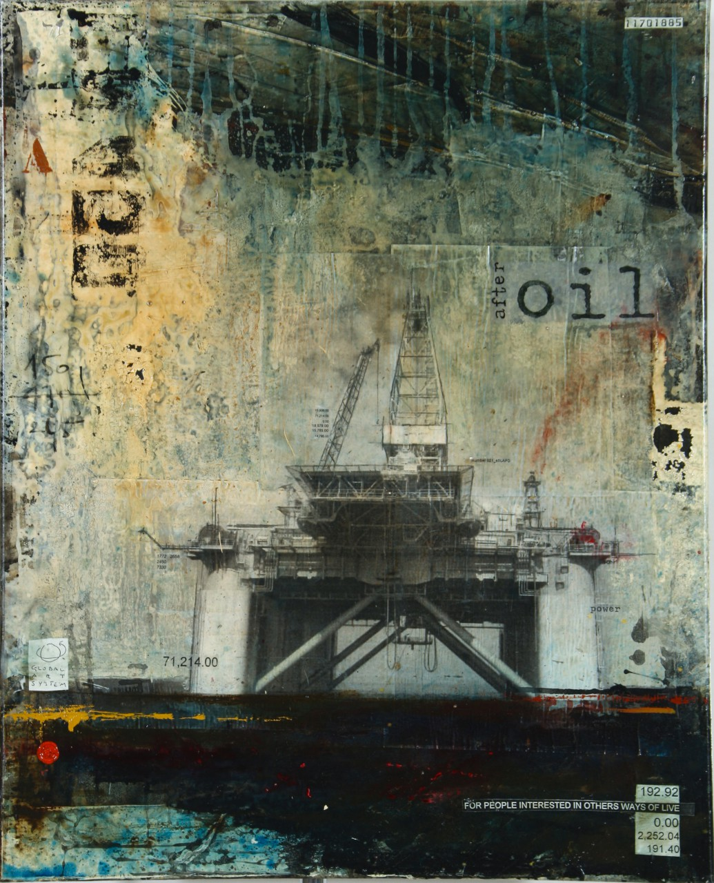 After Oil - collage photo, huile, acrylique sur toile - 100 x 80 cm - 2012