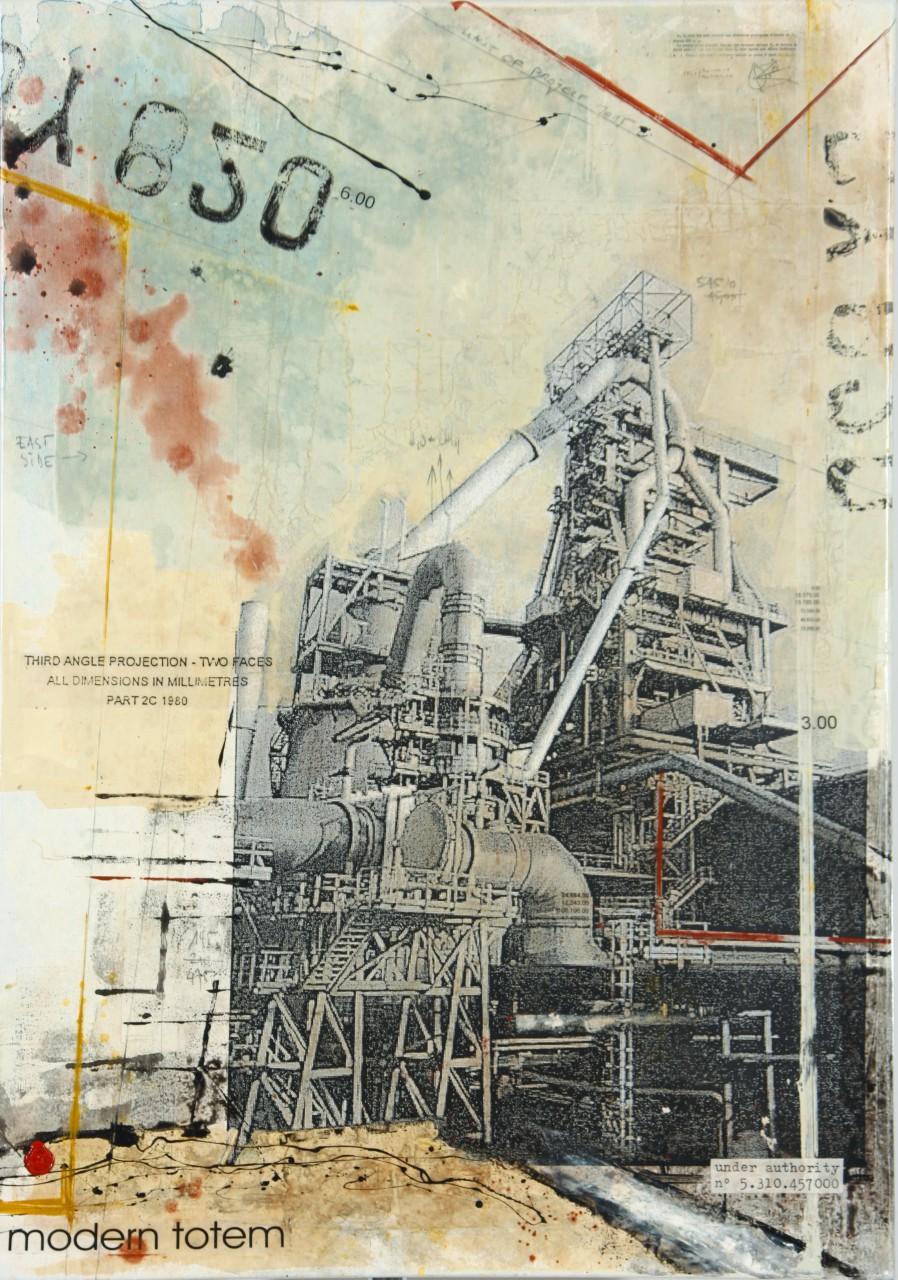 Monumentall Totem - Esch-sur-Alzette (L) - collage photo, huile, acrylique sur toile - 100 x 70 cm - 2007