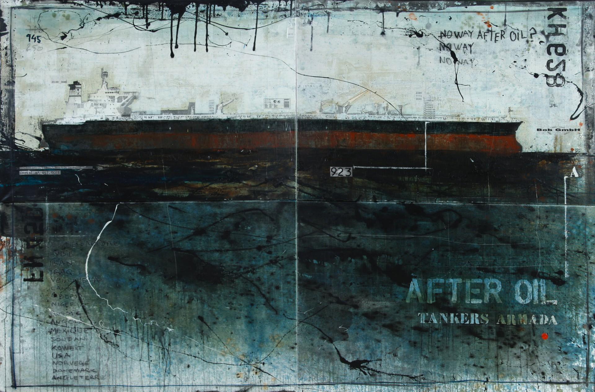 After Oil - Tankers Armada - collage photo, huile, acrylique sur toile - 160 x 240 cm - 2012