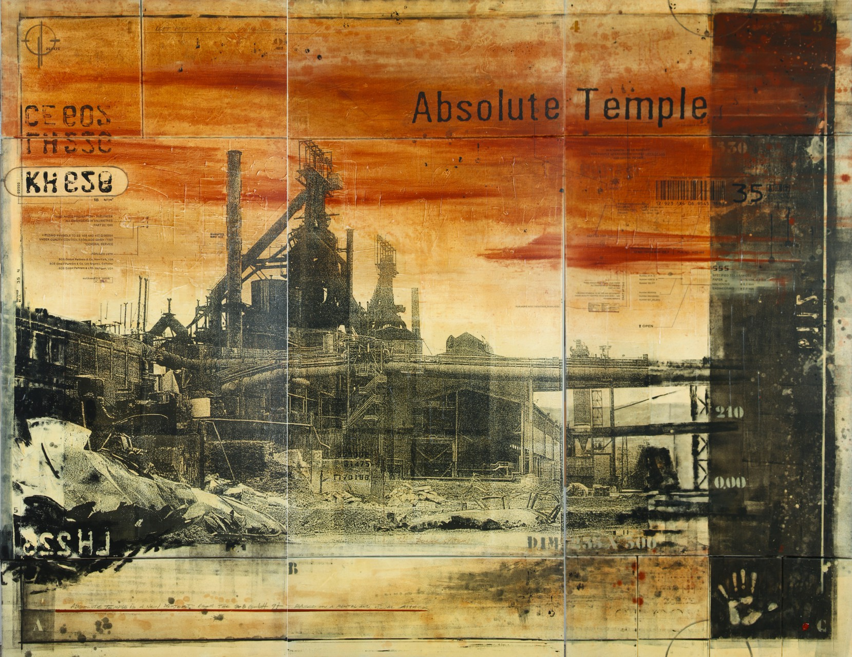 Absolute Temple - Esch-sur-Alzette (L) - collage photo, huile, acrylique sur toile - 235 x 300 cm - 1997