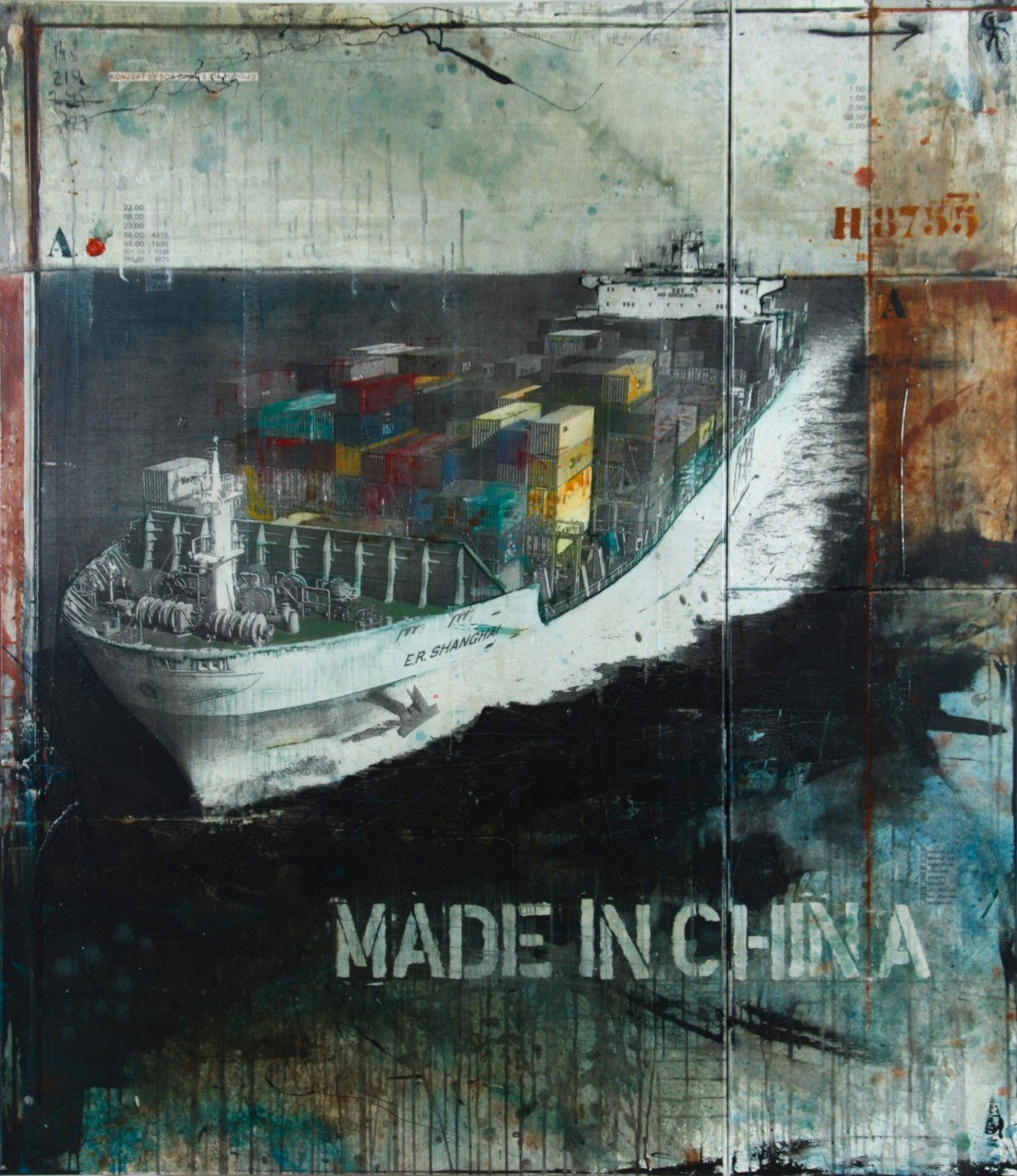 Made in China - collage photo, huile, acrylique sur toile 160 x 140 cm - 2012