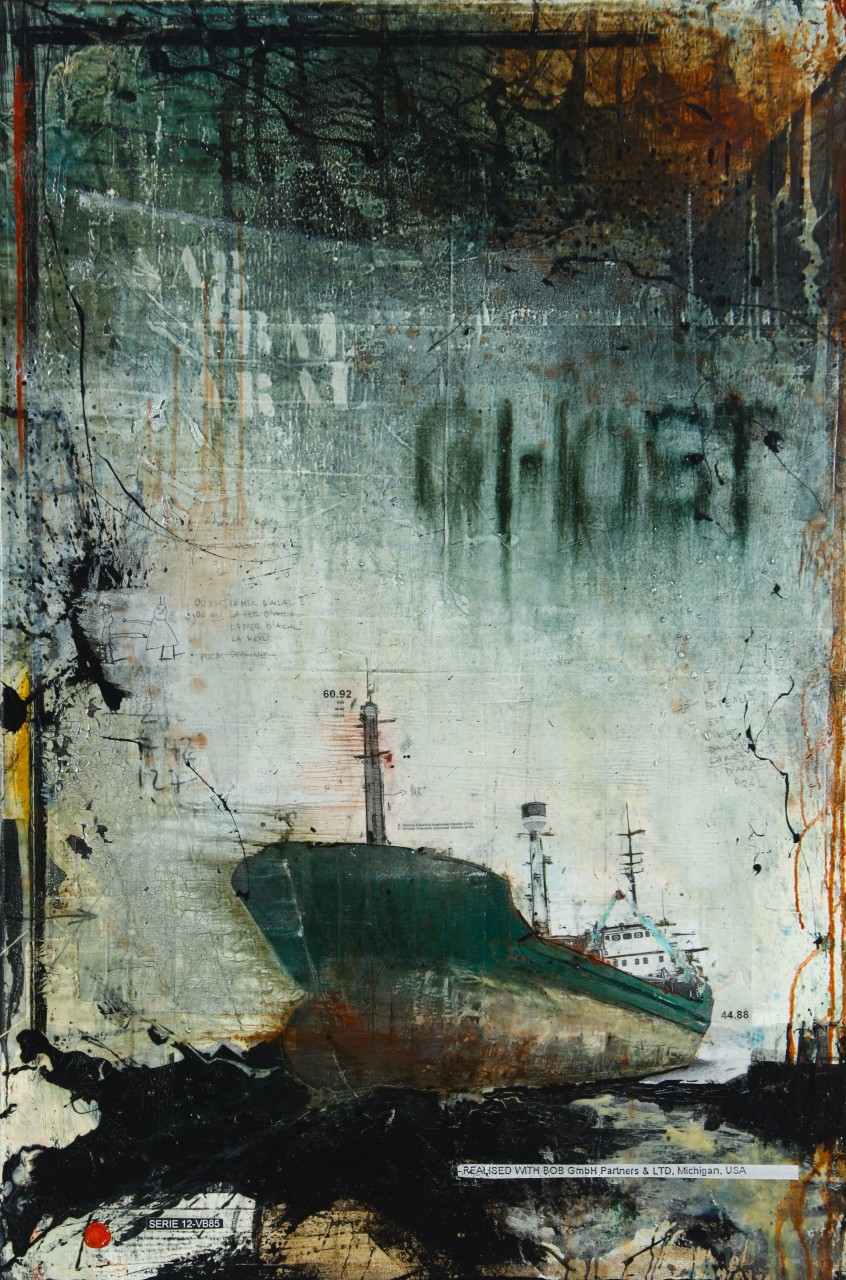 Aral Ghost - Aral Sea (KZ/UZ) - collage photo, huile, acrylique sur toile - 120 X 80 cm - 2012
