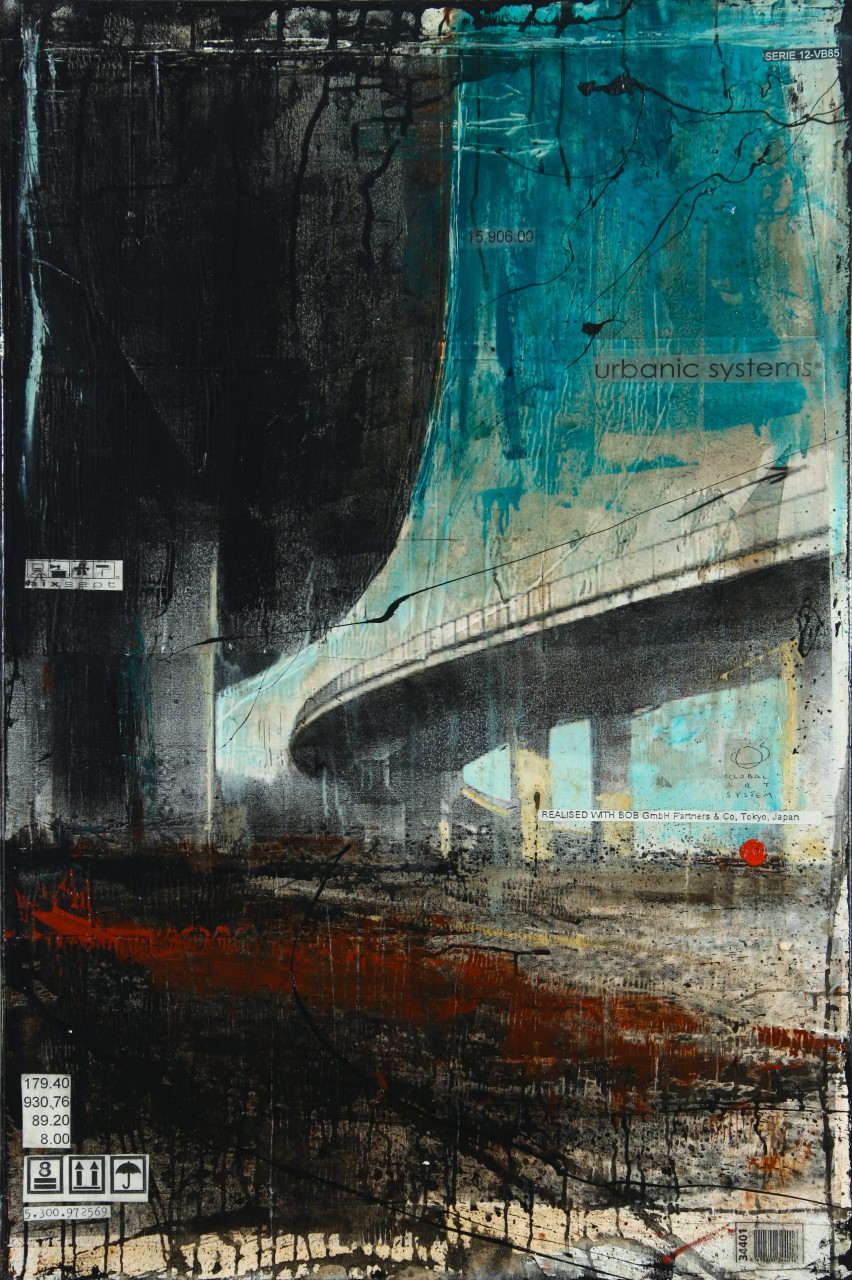 Interchanges - Köln (D) - collage photo, huile, acrylique sur toile - 120 x 80 cm - 2012