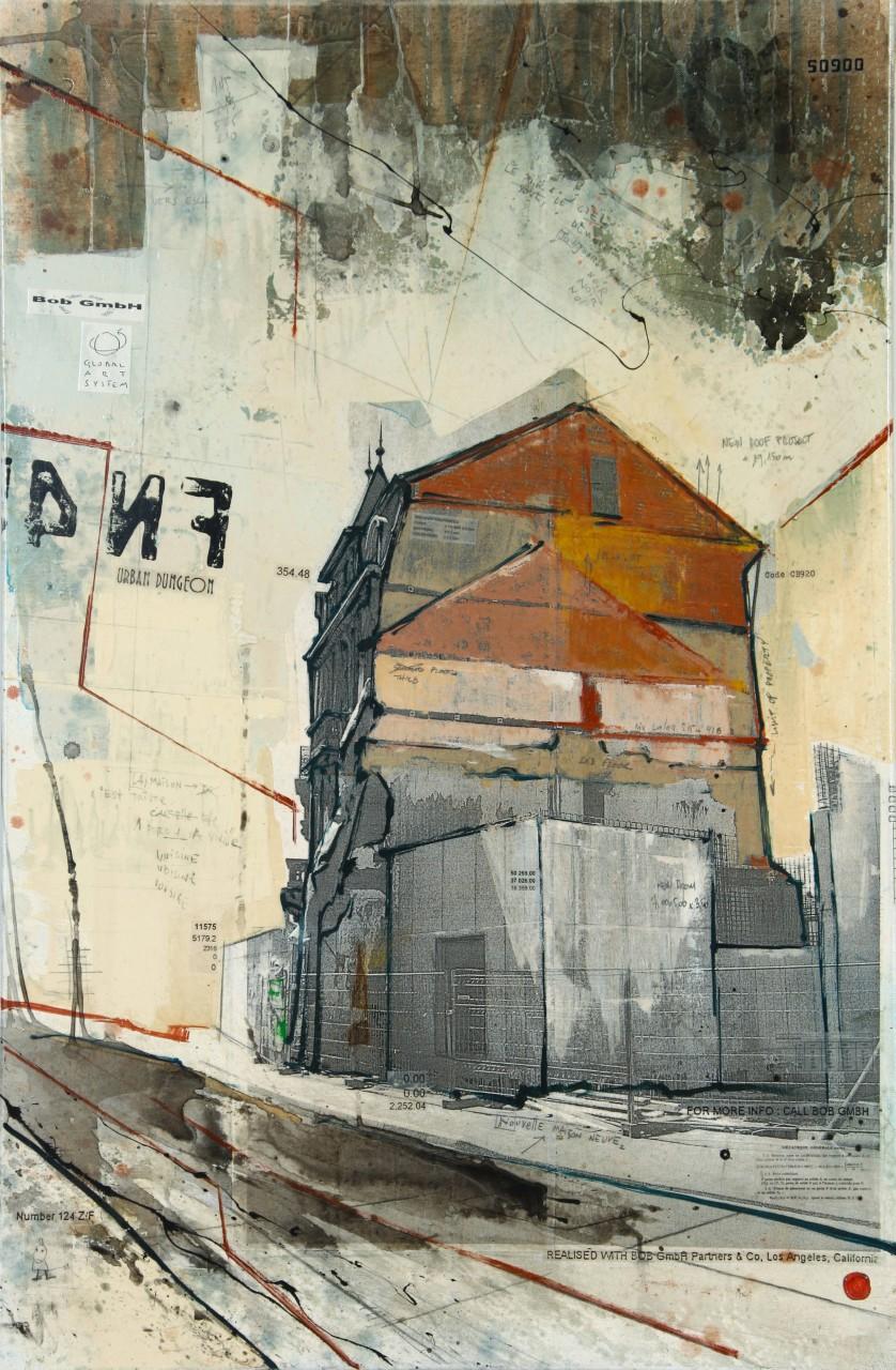 Urban Dungeon - Esch-sur-Alzette (L) - collage photo, huile, acrylique sur toile - 120 X 80 cm - 2010