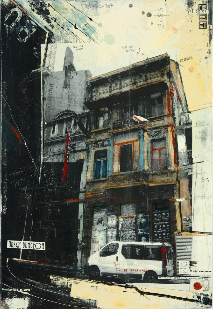 Urban Dungeon - Bruxelles (B) - collage photo, huile, acrylique sur toile - 100 X 70 cm - 2008