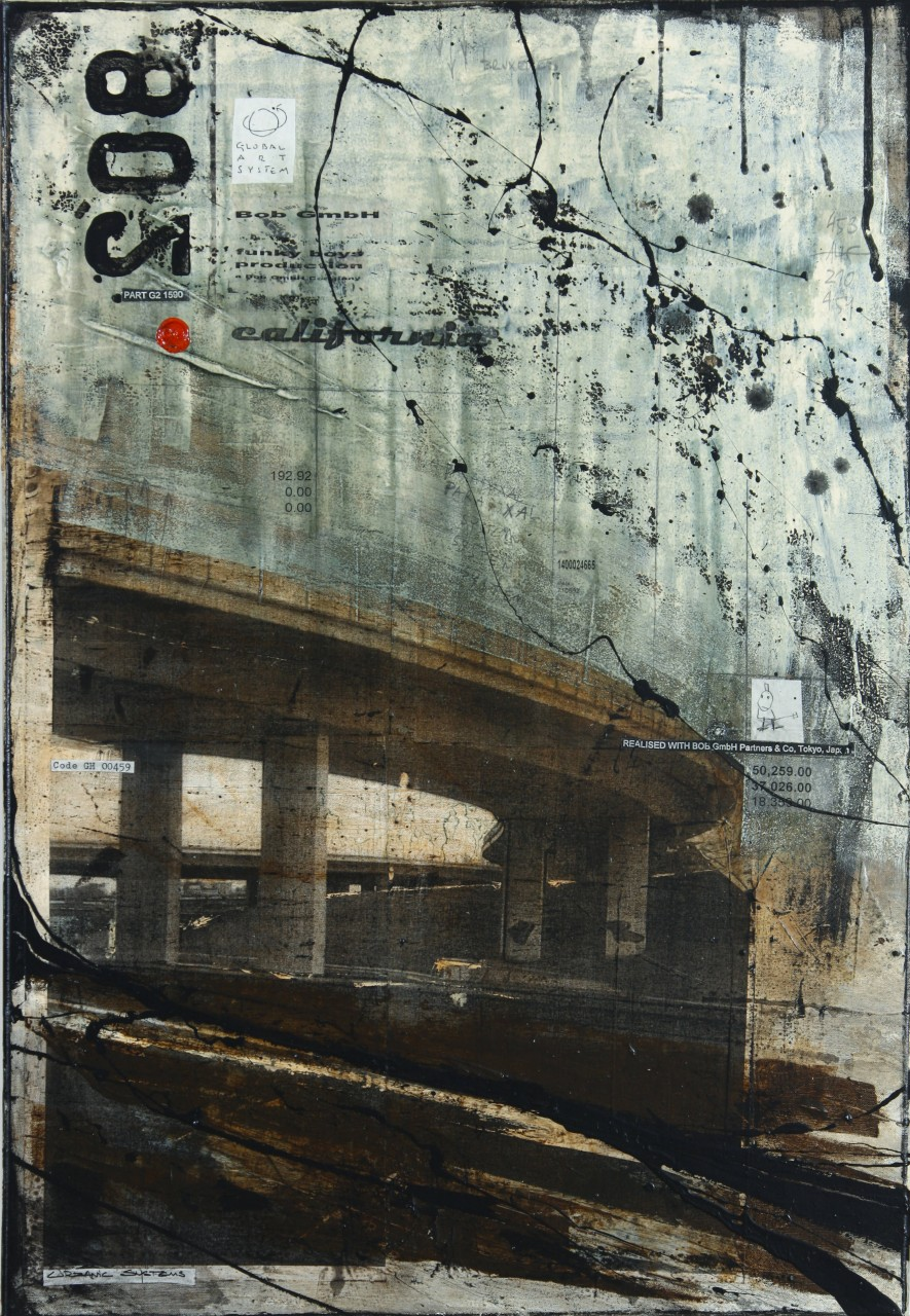 Highways - Bruxelles (B) - collage photo, huile, acrylique sur toile - 100 x 70 cm - 2010