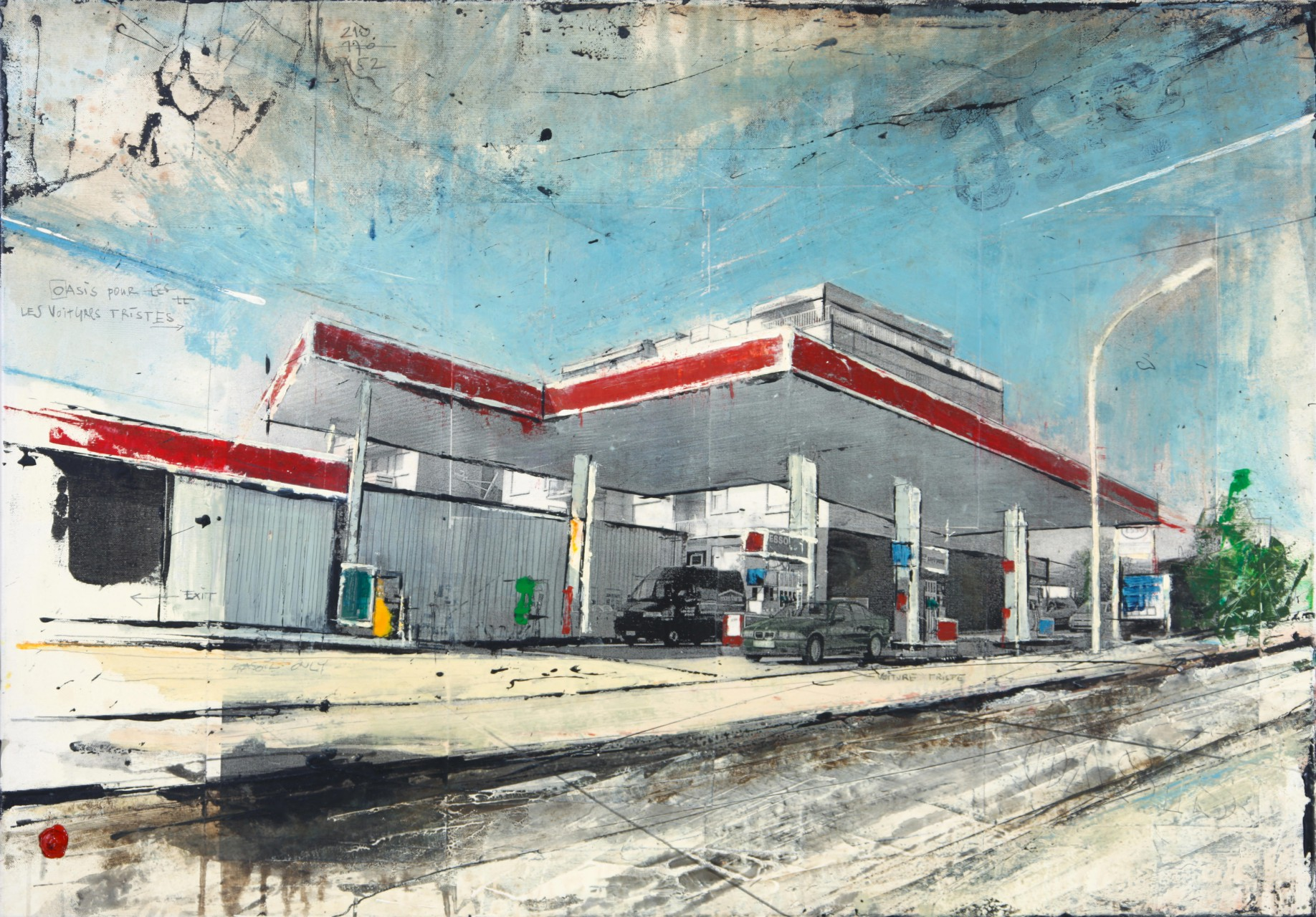 Oasis - Rémich (L) - collage photo, huile, acrylique sur toile - 70 x 100 cm - 2006