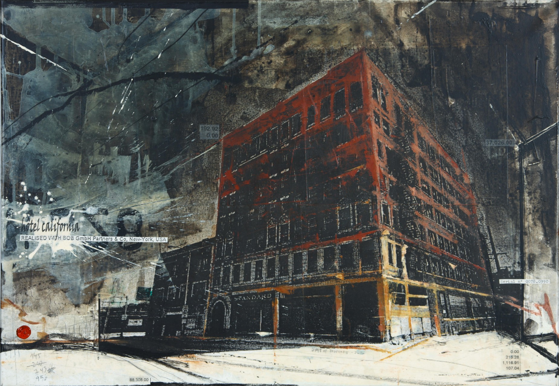 Hotel California - Gary (USA) - collage photo, huile, acrylique sur toile - 70 x 100 cm - 2010