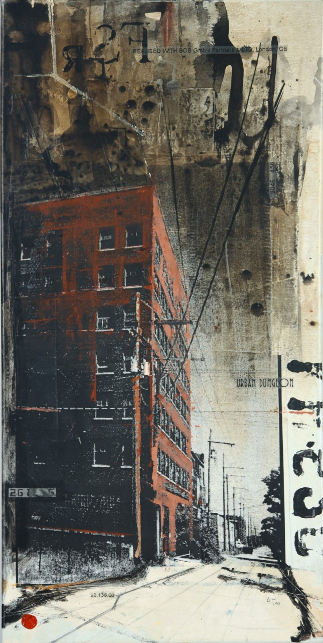 Urban Dungeon - Gary (USA) - collage photo, huile, acrylique sur toile - 100 x 50 cm - 2010
