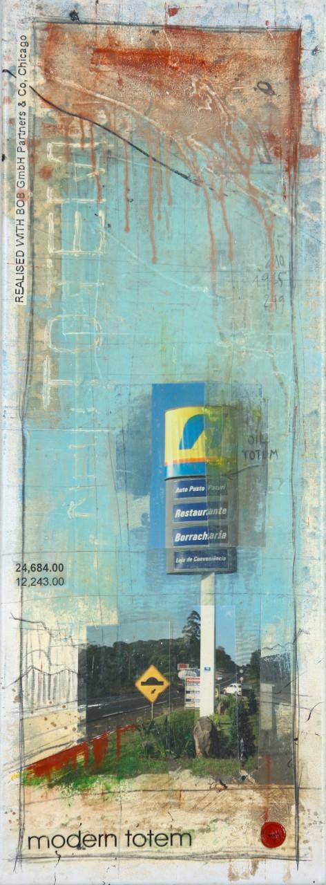 Modern Totem - Foz do Iguaçu (BR/RA/PR) - collage photo, huile, acrylique sur toile - 80 X 30 cm - 2006