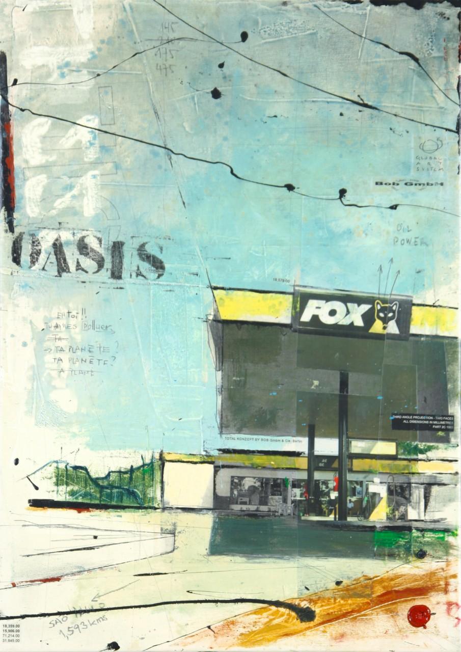 Modern Oasis - Sao Paulo (BR) - collage photo, huile, acrylique sur toile - 70 X 50 cm - 2006