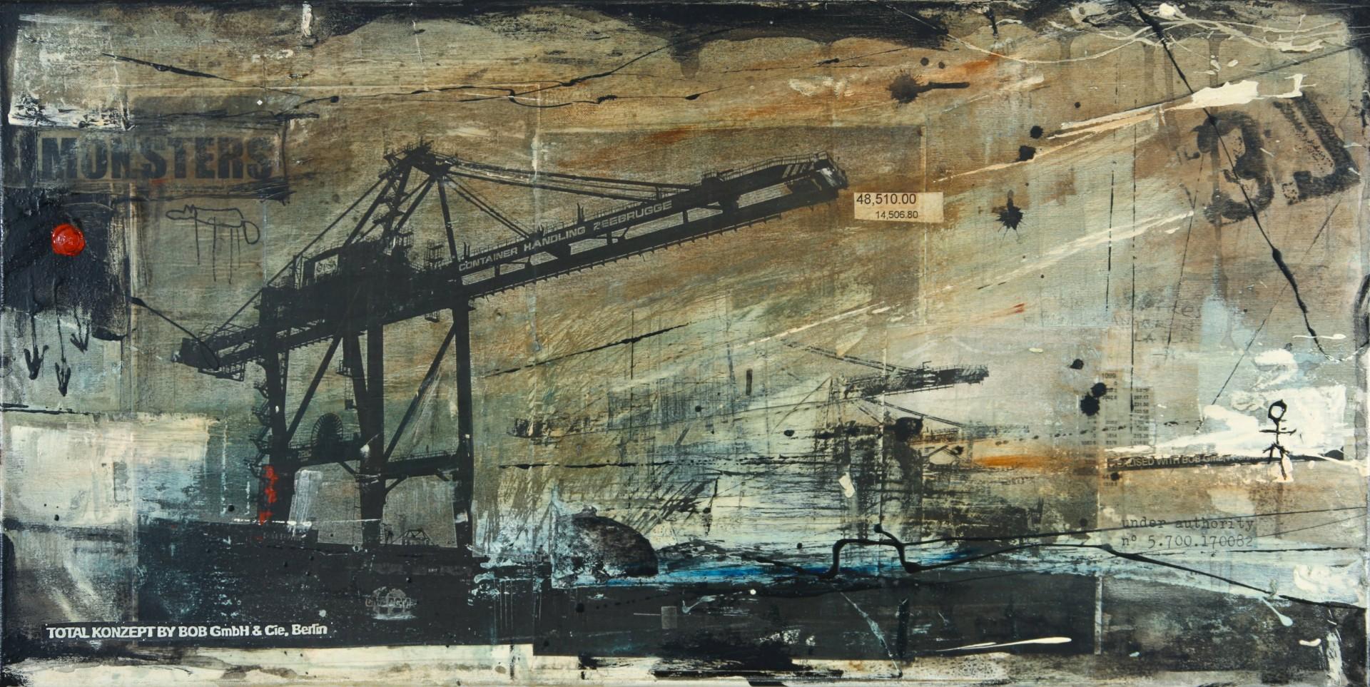 Monsters - Zeebrugge (B) - collage photo, huile, acrylique sur toile - 50 x 100 cm - 2009