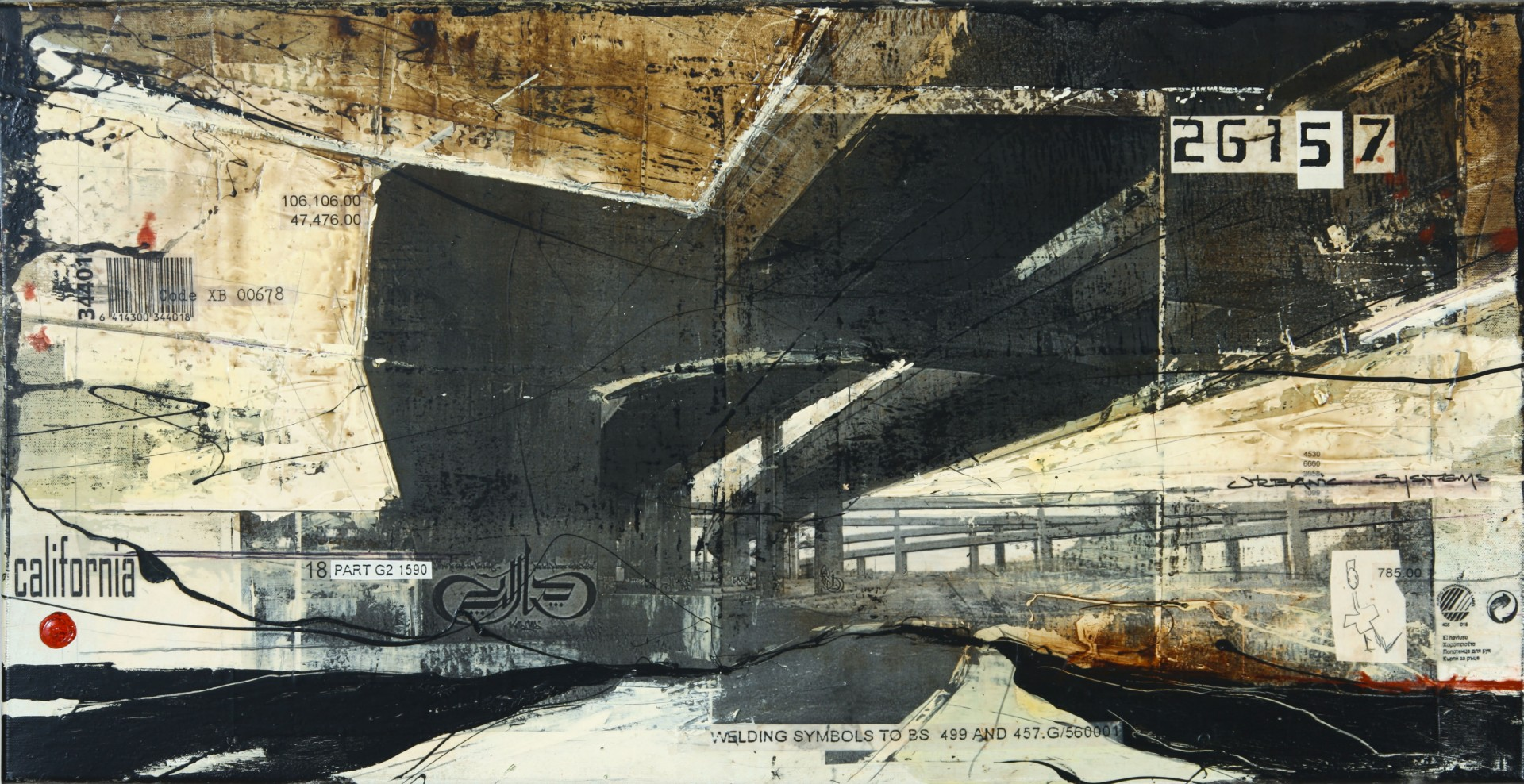 Highways - Los Angeles (USA) - collage photo, huile, acrylique sur toile - 50 x 100 cm - 2010