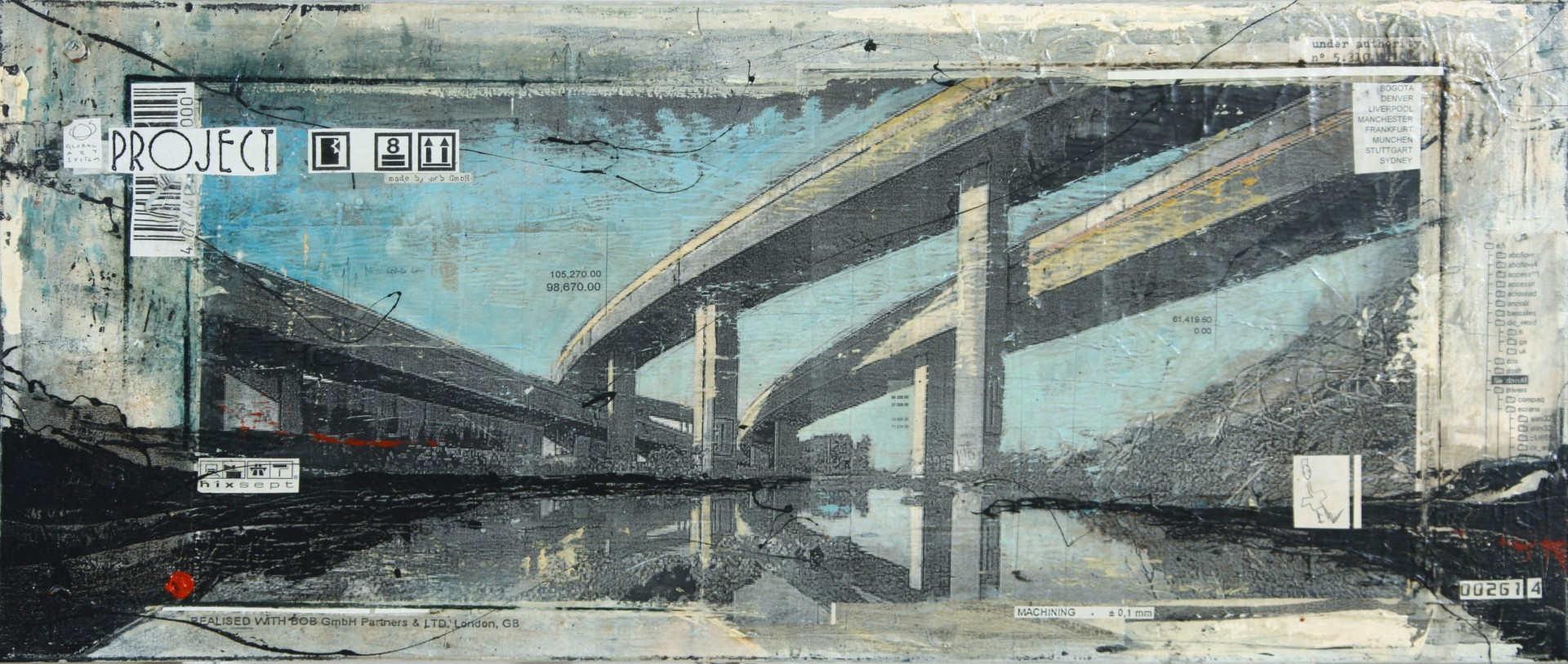 Interchanges - Montreal (CDN) - collage photo, huile, acrylique sur toile - 60 x 140 cm - 2010