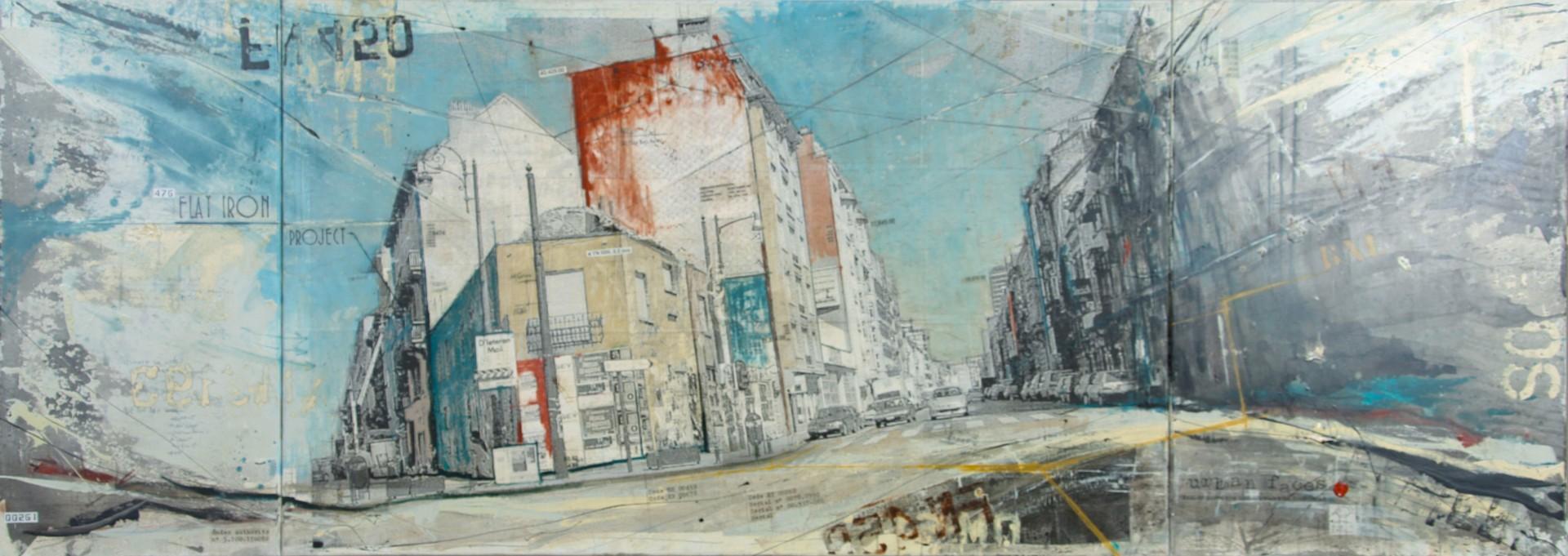 Urban Faces - Bruxelles (B) - collage photo, huile, acrylique sur toile - 100 x 280 cm - 2009