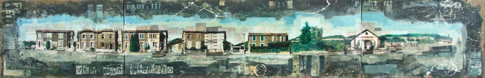 Via San Michele - Audun-le-Tiche (F) - collage photo, huile, acrylique sur toile - 60 x 380 cm - 1994