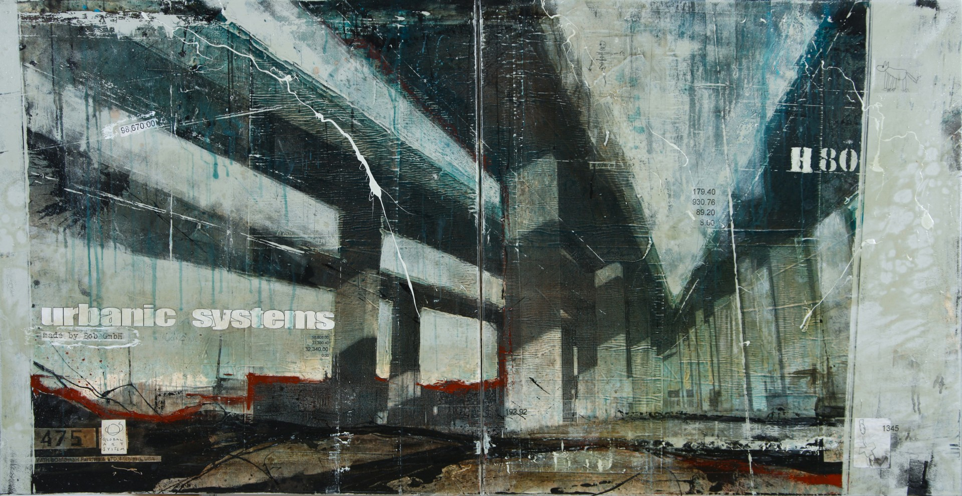 Interchanges - Los Angeles (USA) - collage photo, huile, acrylique sur toile - 80 x 120 cm - 2012