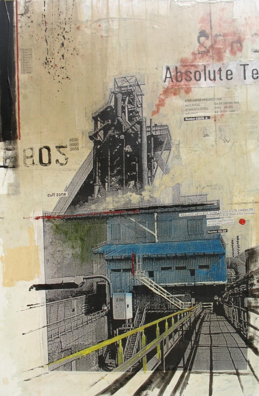 Industrial Landscape CO2 - Gent (B) - collage photo, huile, acrylique sur toile - 150 x 100 cm - 2007