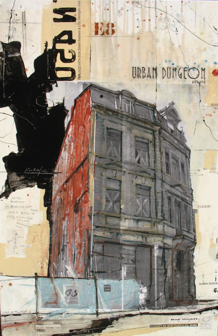 Urban Dungeon - Luxembourg (L) - collage photo, huile, acrylique sur toile - 120 X 80 cm - 2007