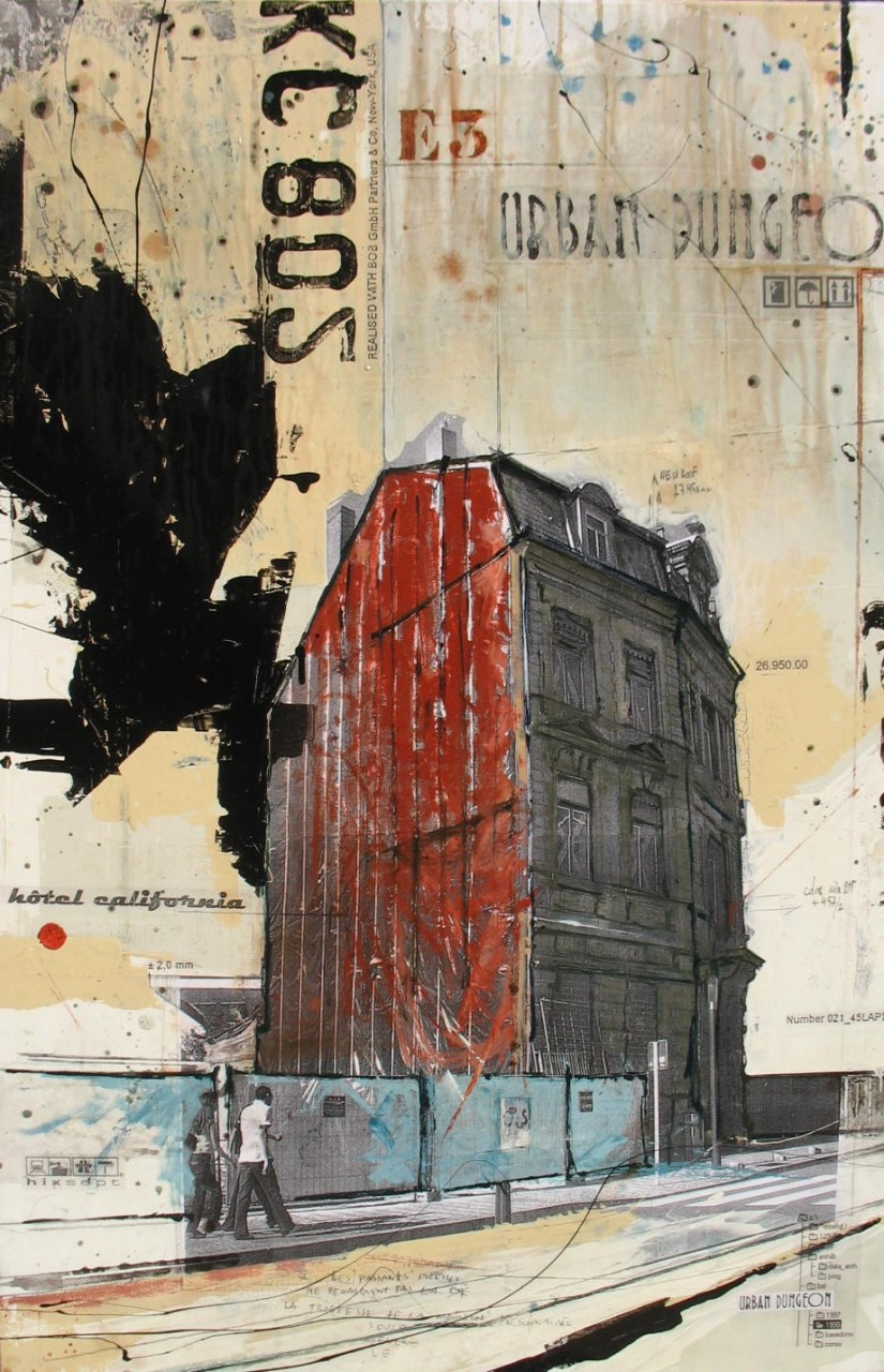 Hotel California - Luxembourg (L) - collage photo, huile, acrylique sur toile - 120 X 80 cm - 2007
