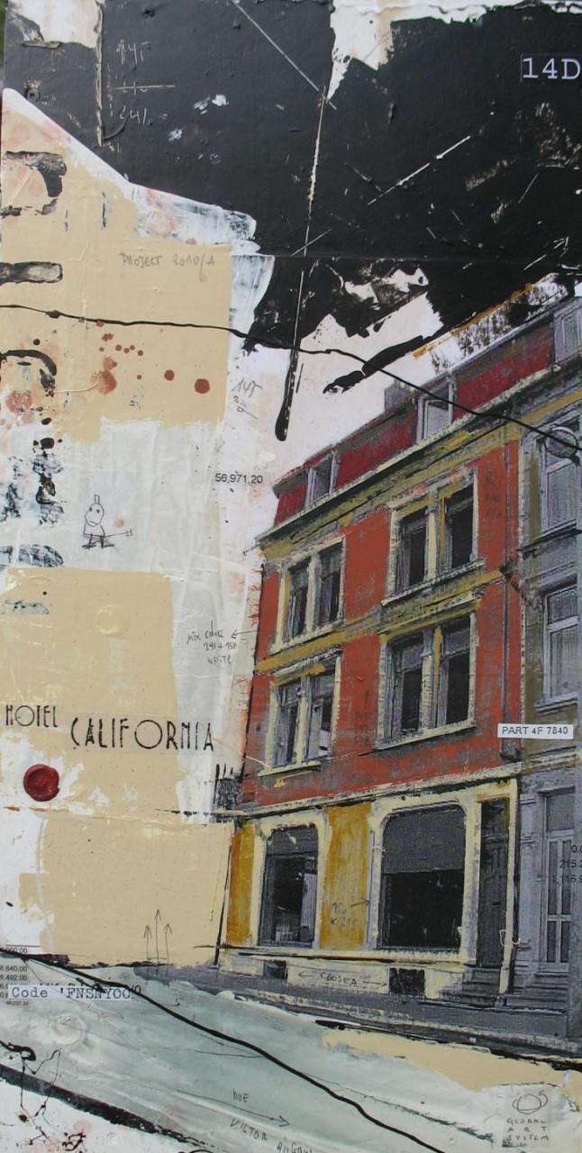 Hotel California - Esch sur Alzette (L) - collage photo, huile, acrylique sur toile - 81 x 42 cm - 2007
