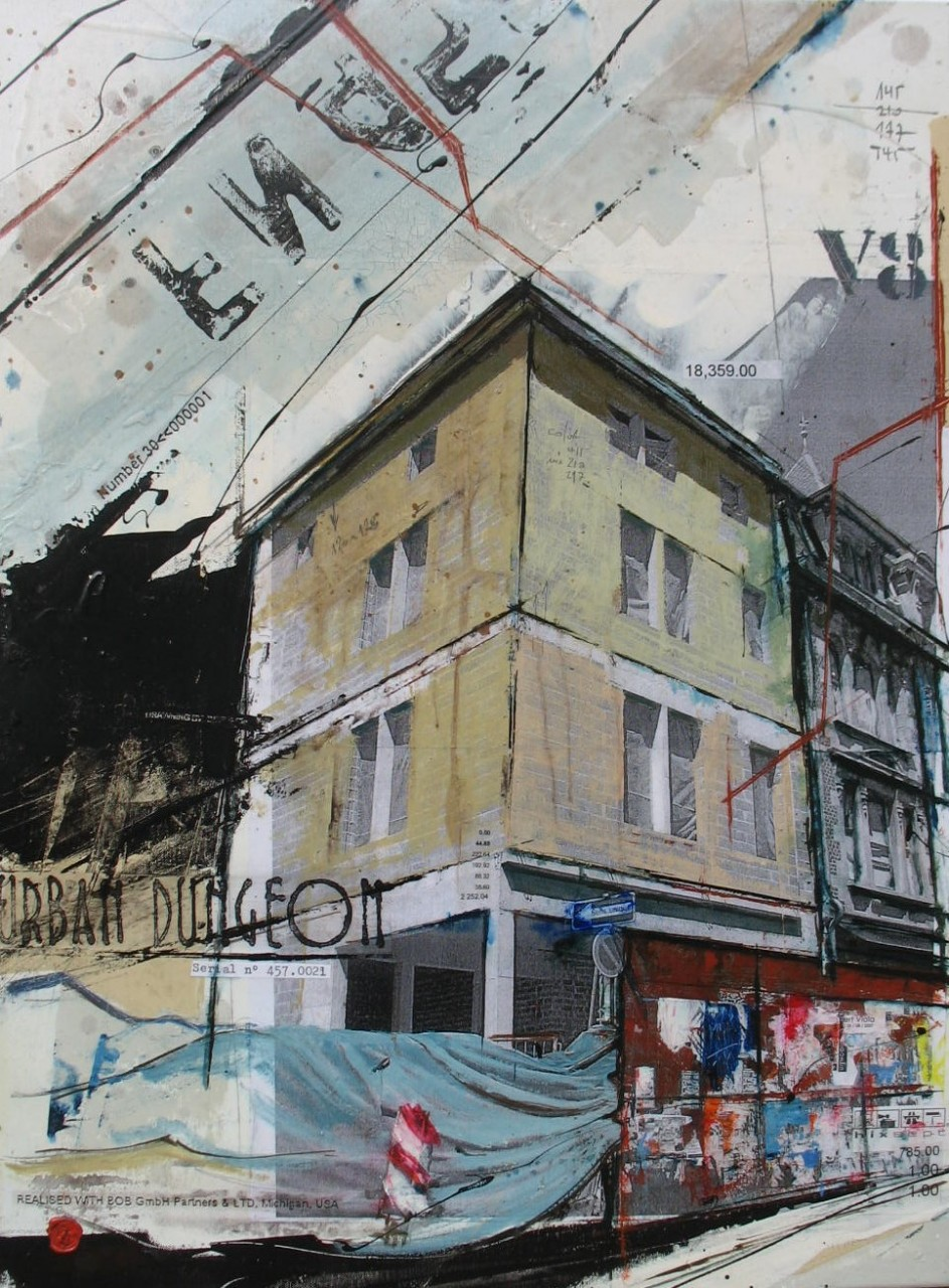Urban Dungeon - Luxembourg (L) - collage photo, huile, acrylique sur toile - 80 X 60 cm - 2007