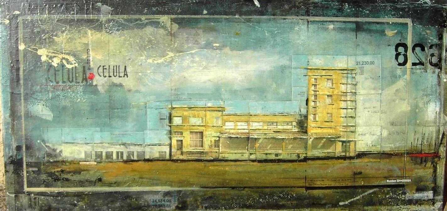 Urban Faces - Celula (L) - collage photo, huile, acrylique sur toile - 74 x 148 cm - 2007