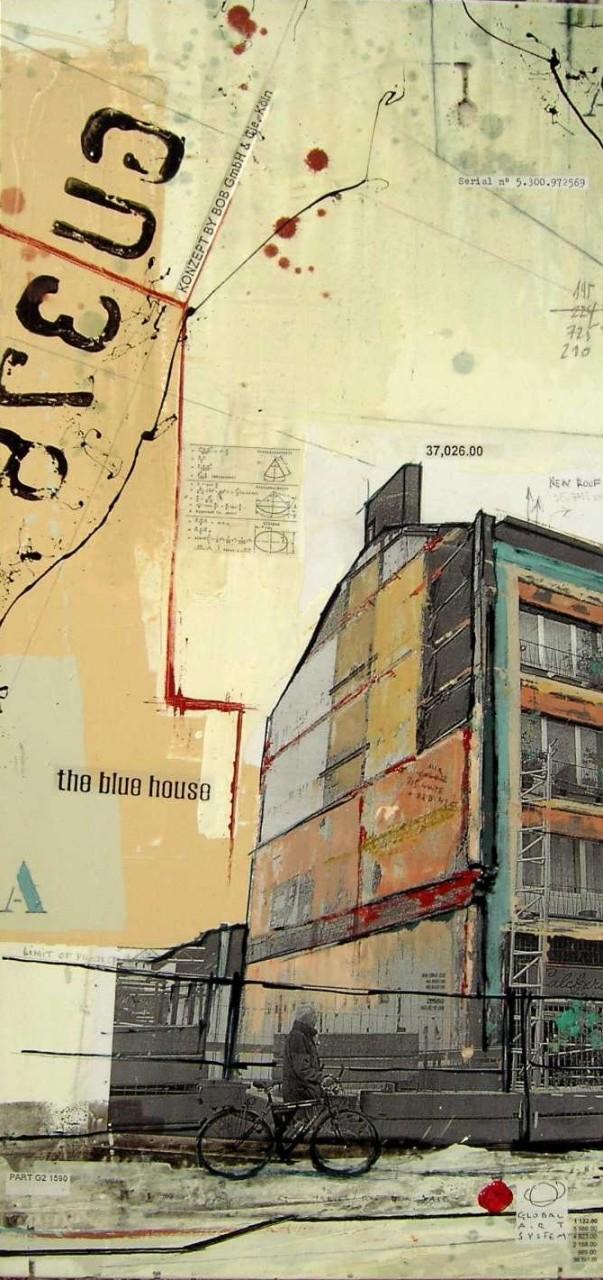 The Blue House - Trèves (D) - collage photo, huile, acrylique sur toile - 100 x 150 cm - 2007