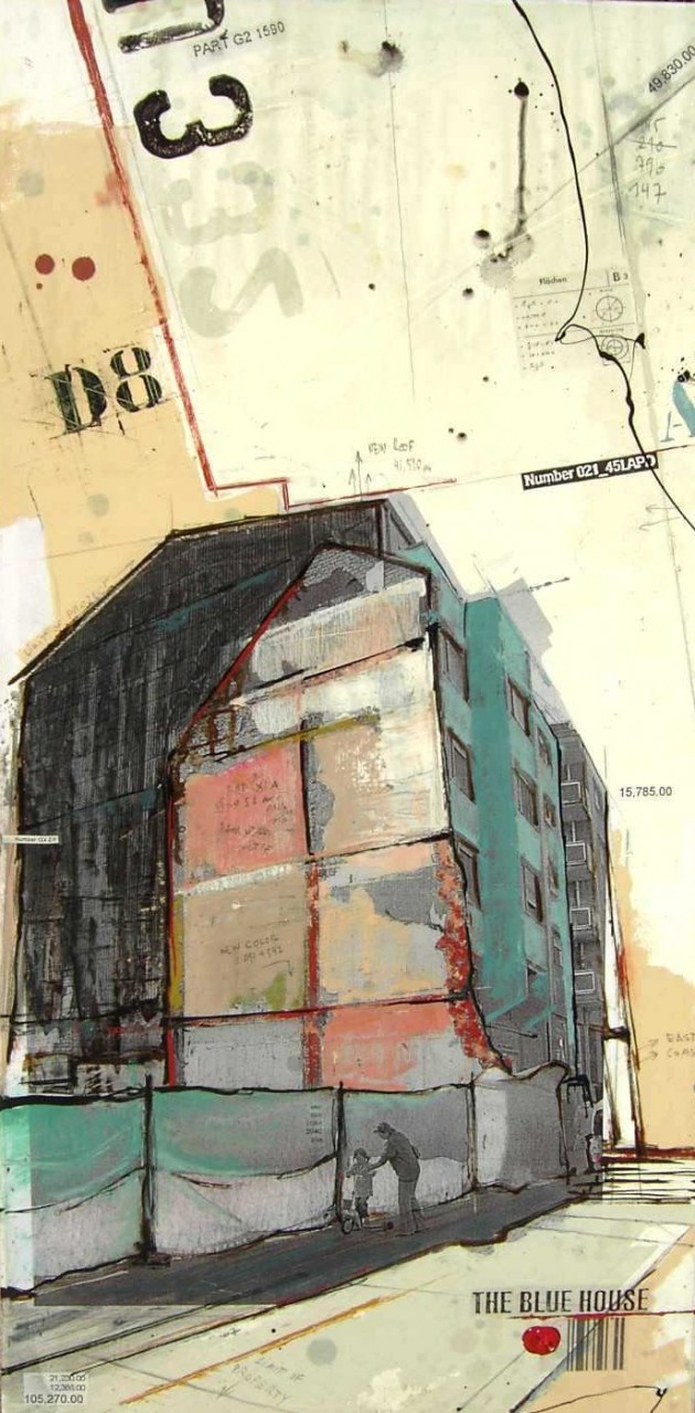 The Blue House - Esch sur Alzette (L) - collage photo, huile, acrylique sur toile - 100 x 50 cm - 2007