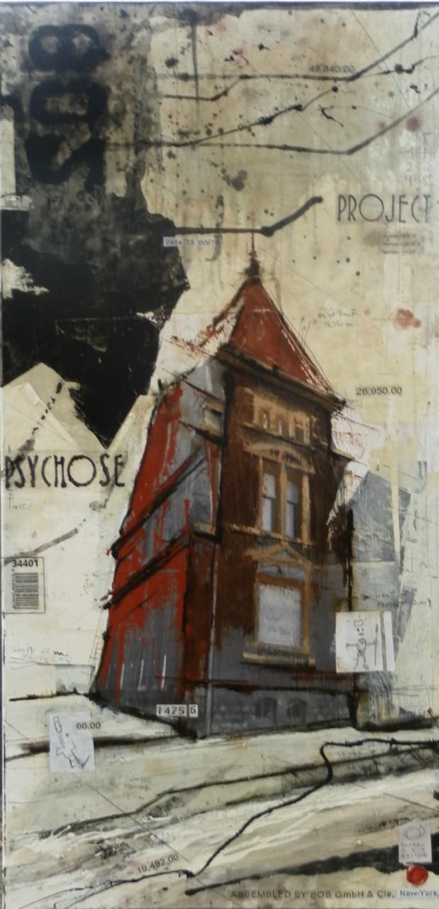 Psychose - Luxembourg (L) - collage photo, huile, acrylique sur toile - 100 X 50 cm - 2010