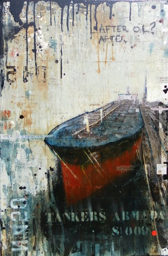 After Oil - Tankers Armada - collage photo, huile, acrylique sur toile - 120 x 80 cm - 2012