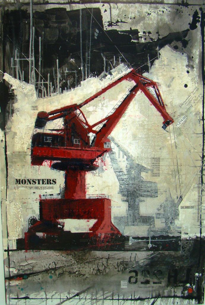 Monsters - collage photo, huile, acrylique sur toile - 150 x 100 cm - 2012