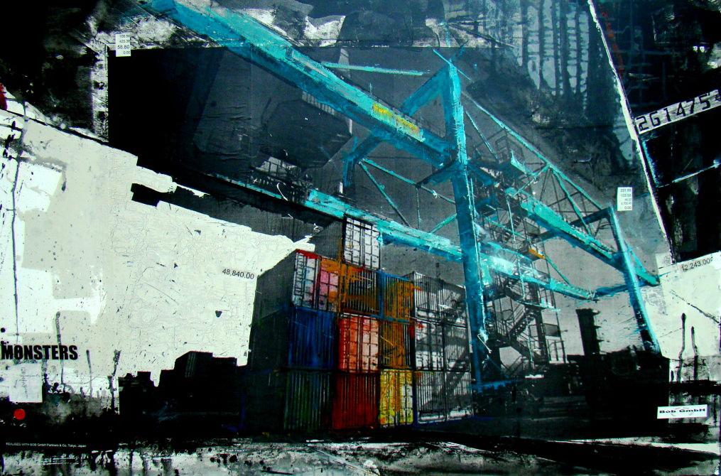 Monsters - collage photo, huile, acrylique sur toile - 100 x 150 cm - 2012