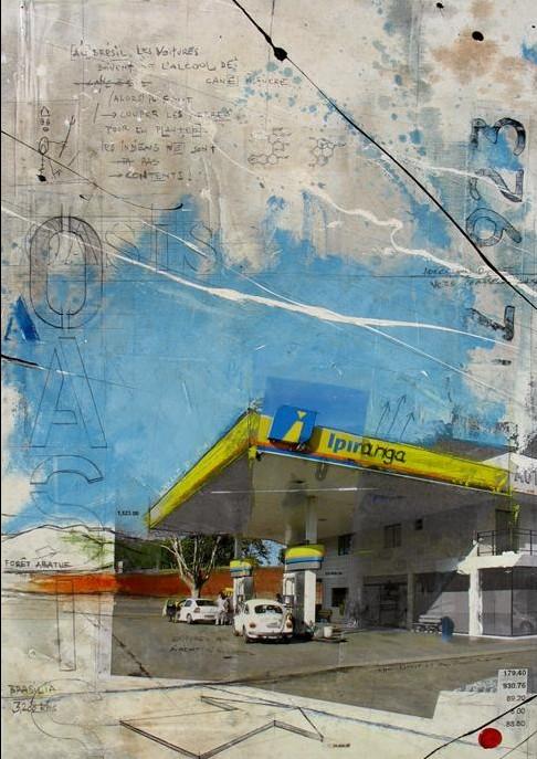 Oasis - Bento Gonçalves (BR) - collage photo, huile, acrylique sur toile - 70 X 50 cm - 2006