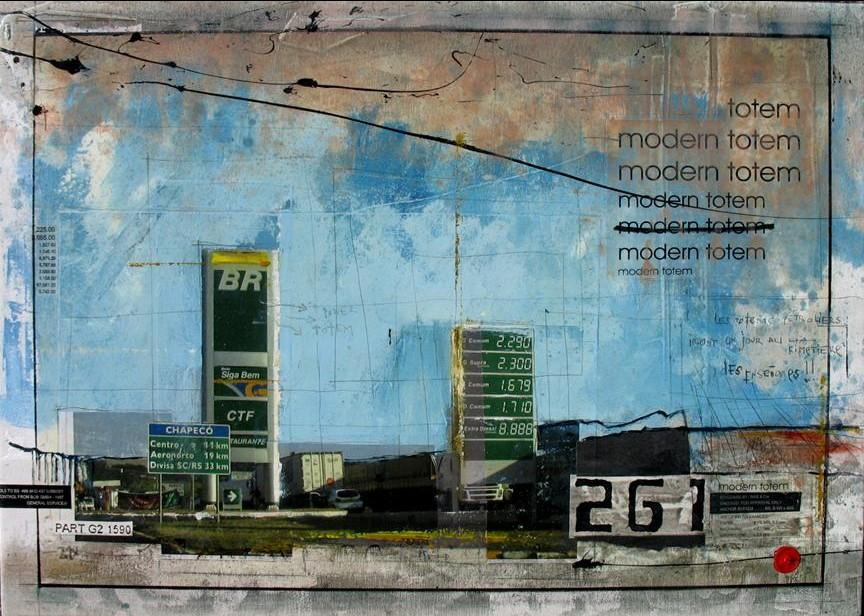 Modern Totem - Chapeco (BR) - collage photo, huile, acrylique sur toile - 50 X 70 cm - 2006
