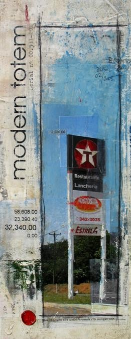 Modern Totem - Sao Paulo (BR) - collage photo, huile, acrylique sur toile - 50 x 20