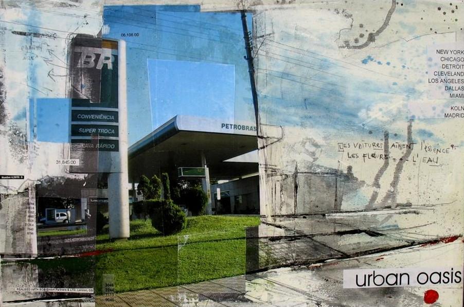 Urban Oasis - Sao Paulo (BR) - collage photo, huile, acrylique sur toile - 40 x 60