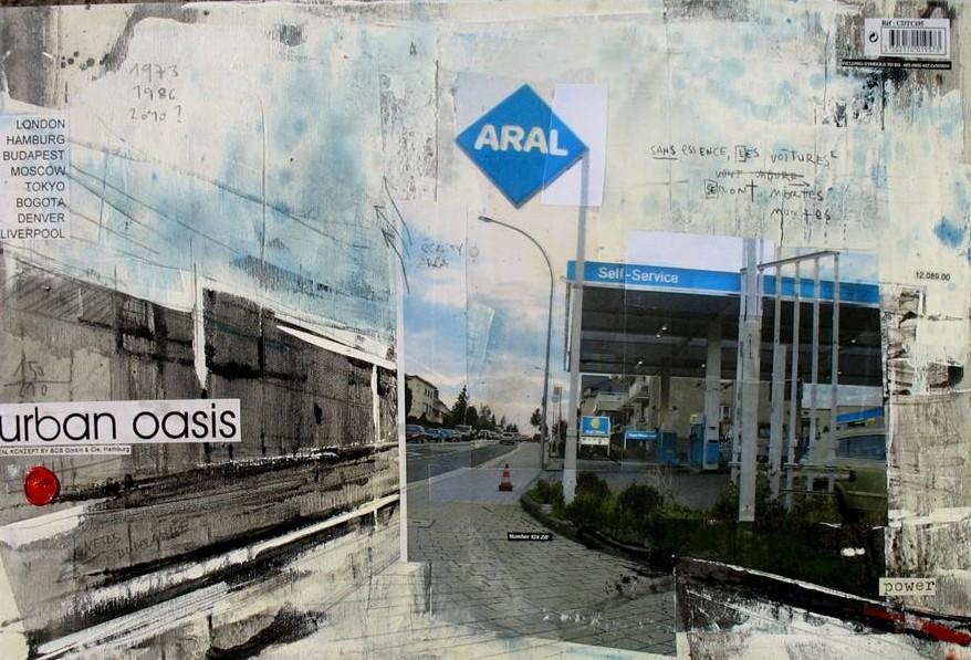 Urban Oasis - Dudelange (L) - collage photo, huile, acrylique sur toile - 40 x 60