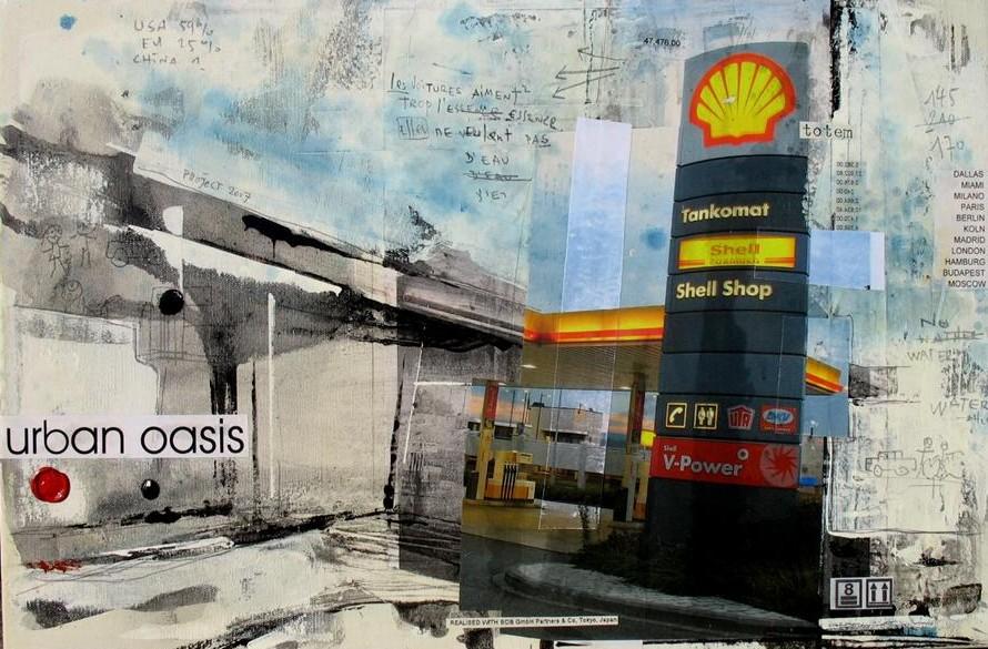 Urban Oasis - Rémich (L) - collage photo, huile, acrylique sur toile - 40 x 60