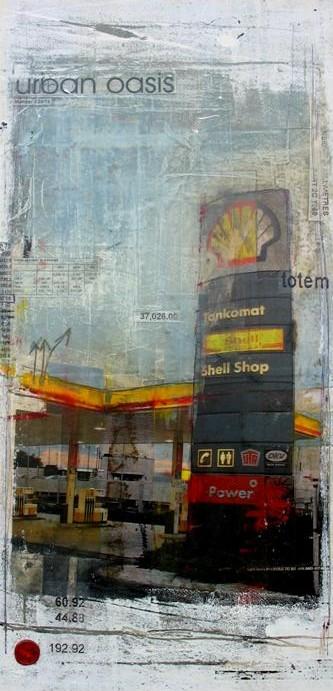 Urban Oasis - Rémich (L) - collage photo, huile, acrylique sur toile - 60 x 30