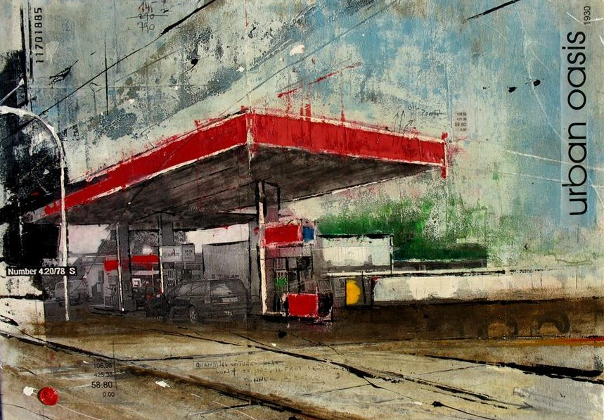 Urban Oasis - Rémich (L) - collage photo, huile, acrylique sur toile - 50 x 70