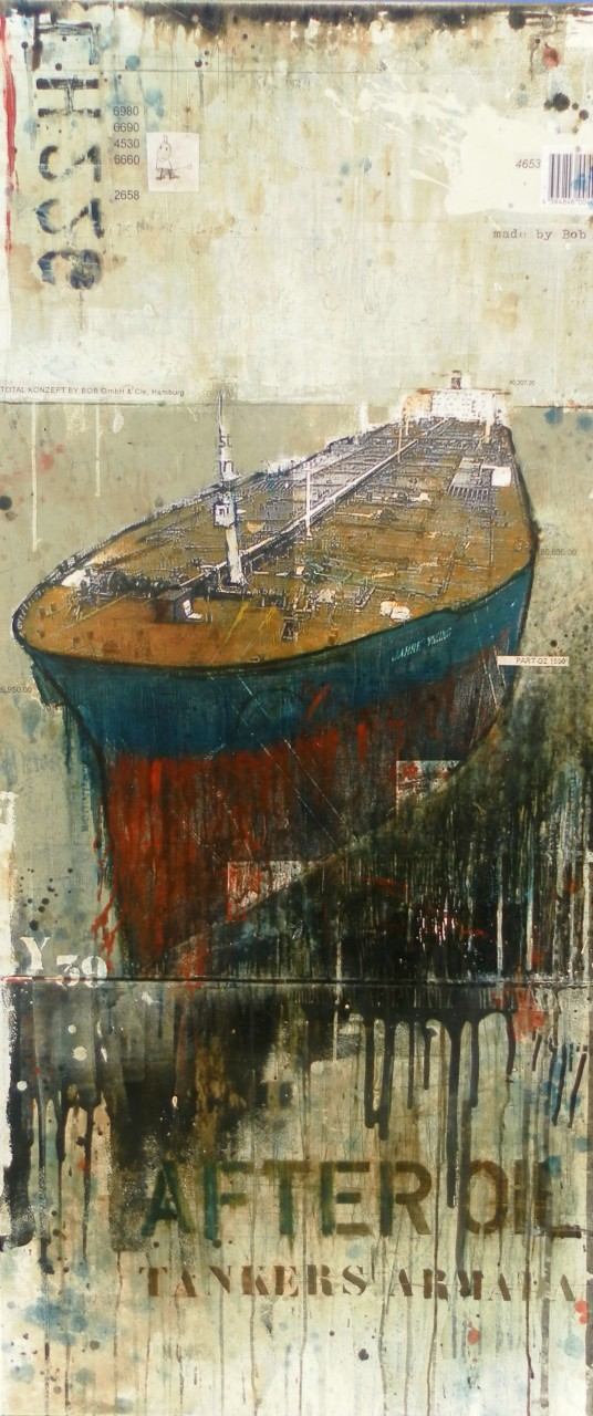 After Oil - Tankers Armada - collage photo, huile, acrylique sur toile - 180 x 80 cm - 2013