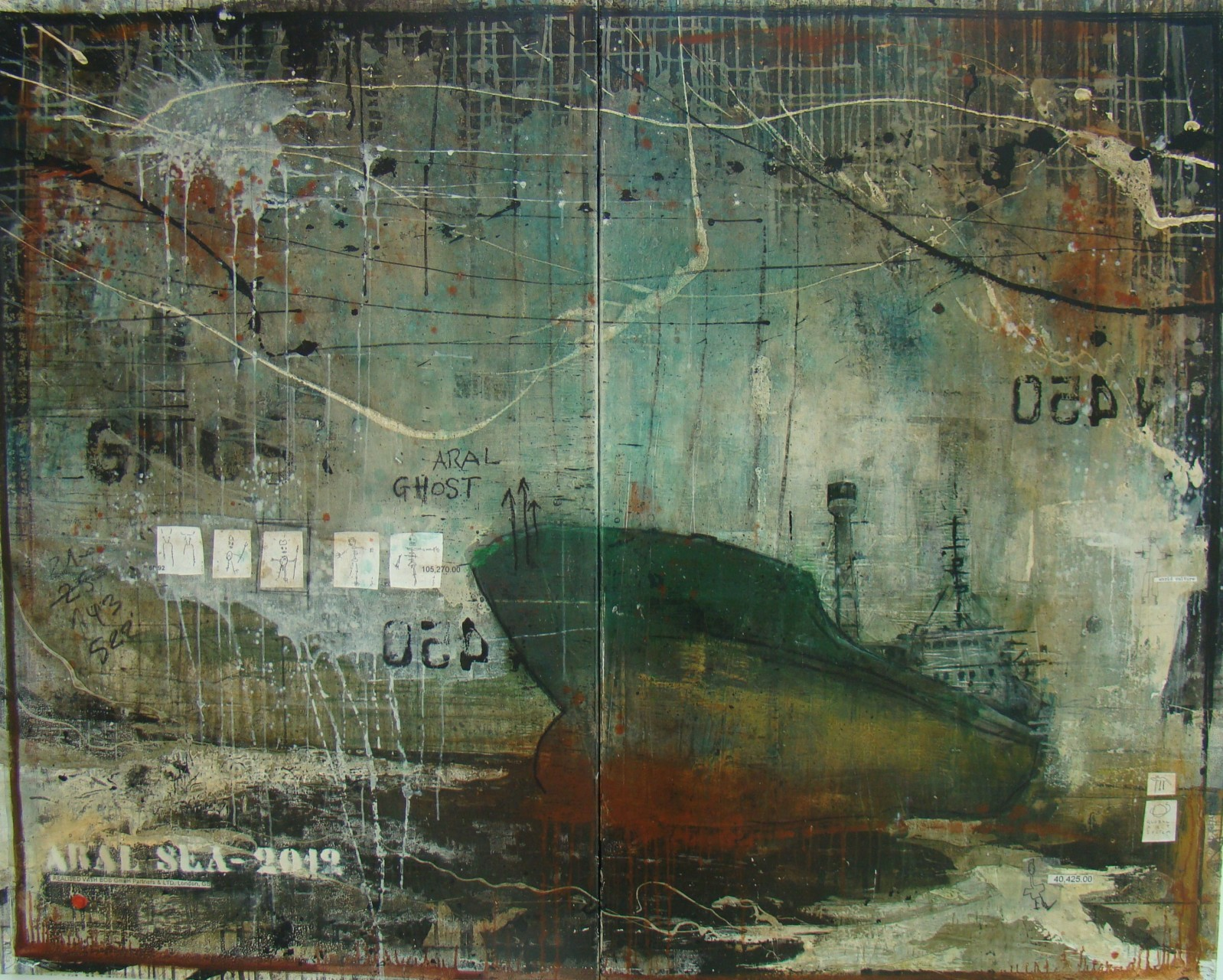 Aral Ghost - Aral Sea (KZ/UZ) - collage photo, huile, acrylique sur toile - 160 X 200 cm - 2012