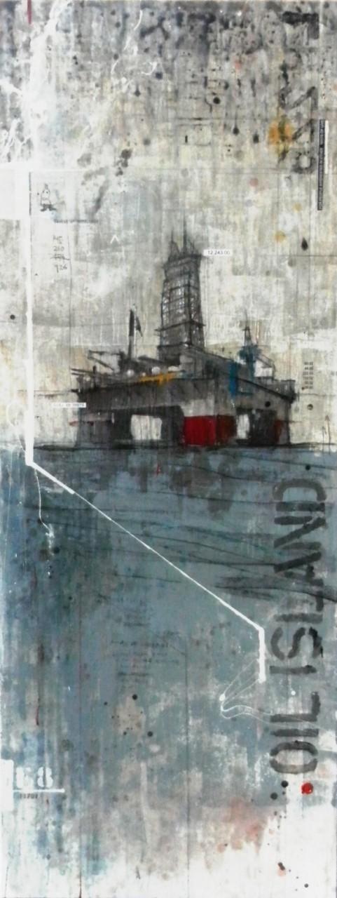 After Oil - collage photo, huile, acrylique sur bois - 180 x 70 cm - 2014