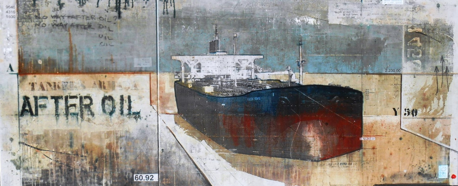After Oil - Tankers Armada - collage photo, huile, acrylique sur toile - 100 x 240 cm - 2014